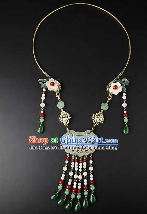 Chinese Handmade Song Dynasty Jade Necklet Classical Jewelry Accessories Ancient Hanfu Beads Tassel Necklace for Women