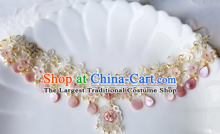 Chinese Handmade Shell Necklet Classical Jewelry Accessories Ancient Hanfu Tassel Necklace for Women