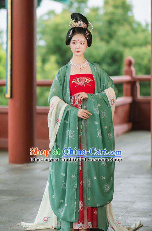 Chinese Ancient Tang Dynasty Imperial Concubine Green Cloak and Red Dress Traditional Court Woman Hanfu Apparels Historical Costumes