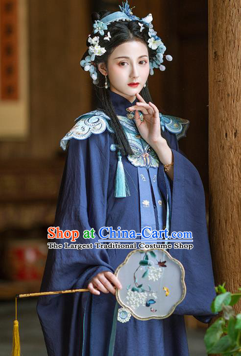 Chinese Ancient Ming Dynasty Royal Princess Navy Gown and Skirt Traditional Hanfu Apparels Historical Costumes for Rich Women