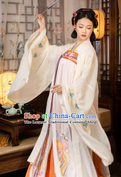 Chinese Tang Dynasty Hanfu Apparels Traditional Ancient Princess Historical Costumes Embroidered Cloak Blouse and Dress Full Set