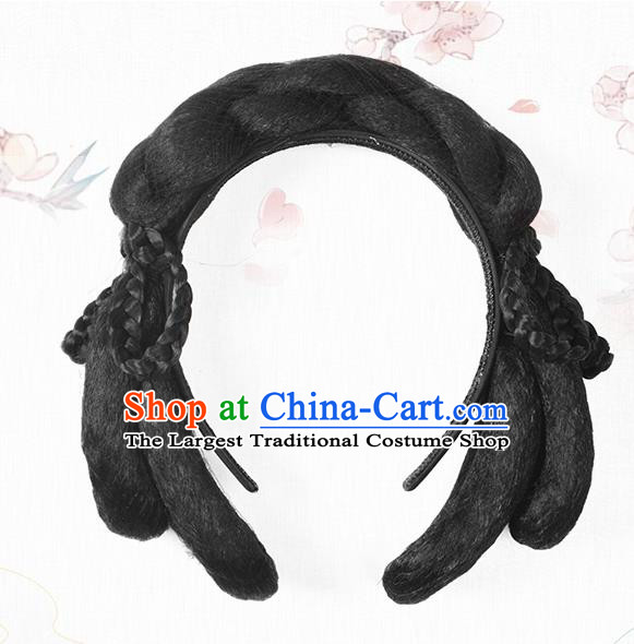 Chinese Classical Ancient Hanfu Wigs Song Dynasty Palace Lady Wig Hair Clasp Accessories
