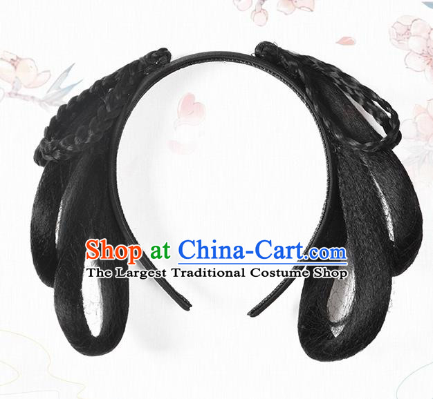 Chinese Classical Ancient Young Lady Hanfu Wigs Song Dynasty Palace Maid Wig Hair Clasp Accessories