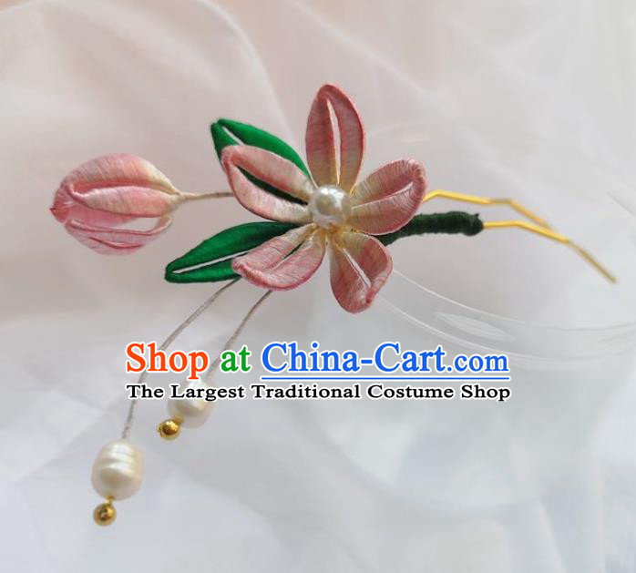 Chinese Ancient Princess Pearls Hairpins Hair Accessories Handmade Hanfu Pink Silk Peach Blossom Hair Clip