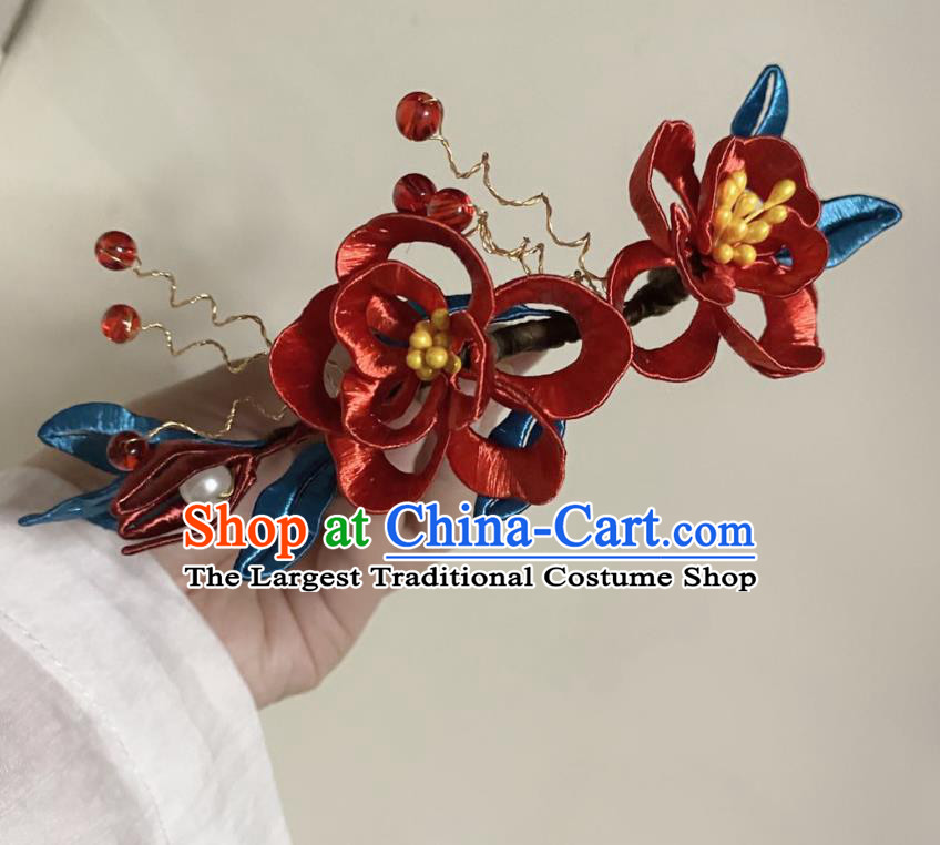 Chinese Ancient Princess Red Beads Hairpins Hair Accessories Handmade Hanfu Rose Flowers Hair Comb