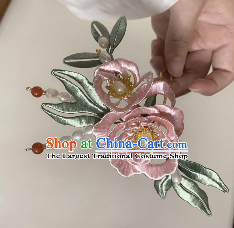 Chinese Ancient Princess Pearls Hairpins Hair Accessories Handmade Hanfu Pink Silk Rose Hair Comb