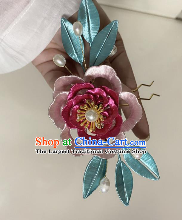 Chinese Ancient Princess Pink Silk Flowers Hairpins Hair Accessories Handmade Hanfu Rose Hair Clip