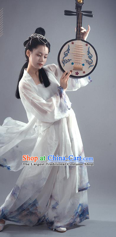 Chinese Ancient Young Female Hanfu Apparels Traditional Costumes Song Dynasty Dance Lady Garment Printing BeiZi Top and Pants Full Set
