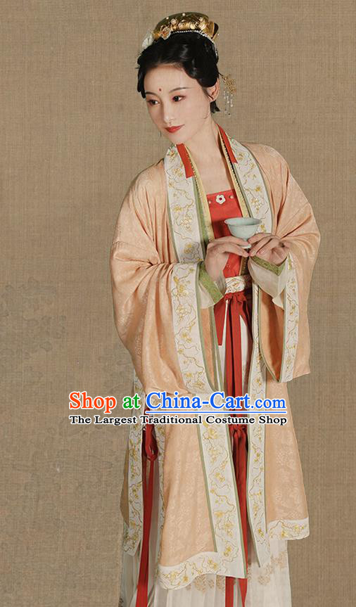 Chinese Ancient Imperial Concubine Hanfu Apparels Traditional Costumes Song Dynasty Palace Women Embroidered BeiZi Blouse and Skirt Full Set