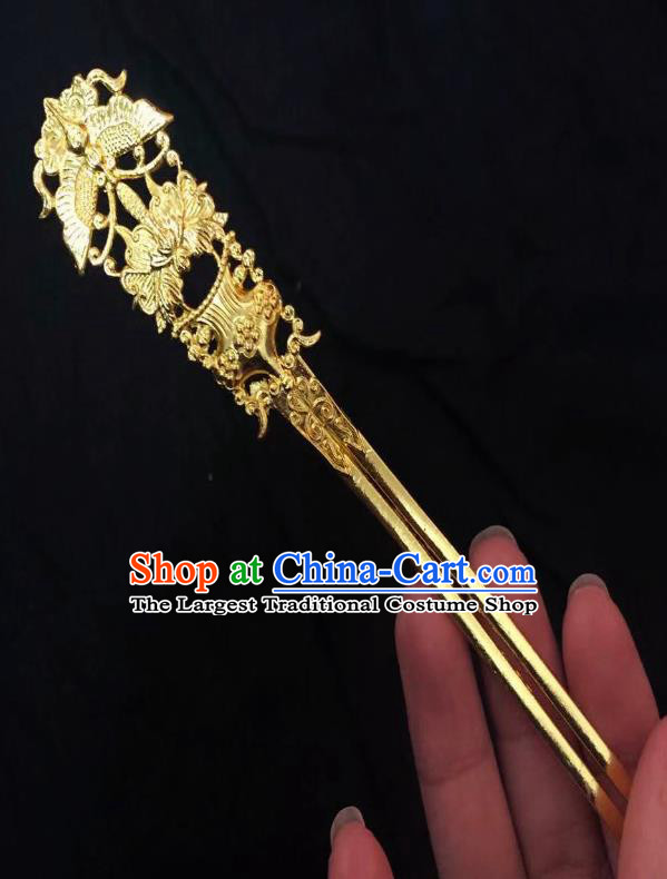 Chinese Ancient Empress Golden Butterfly Peony Hairpins Hair Accessories Handmade Ming Dynasty Palace Hair Stick