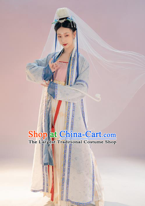Chinese Ancient Goddess Hanfu Apparels Traditional Costumes Song Dynasty Imperial Concubine Embroidered BeiZi Top and Skirt Full Set