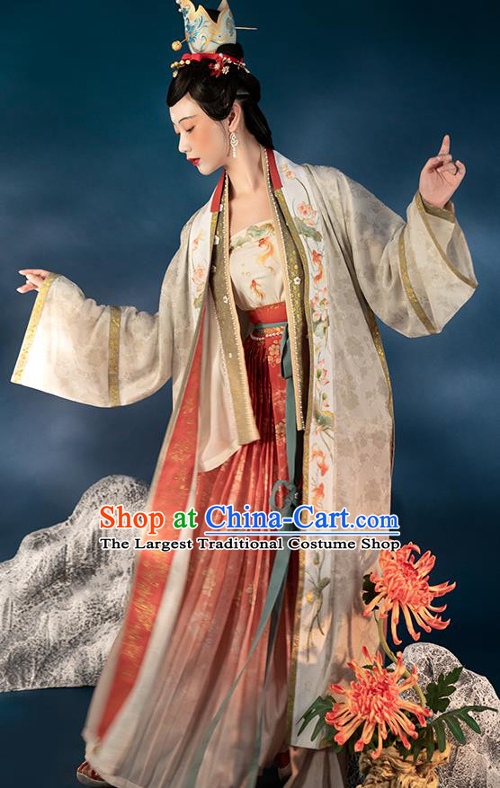 Chinese Ancient Imperial Concubine Embroidered Hanfu Dress Traditional Historical Costumes Ming Dynasty BeiZi Blouse and Skirt Apparels for Women