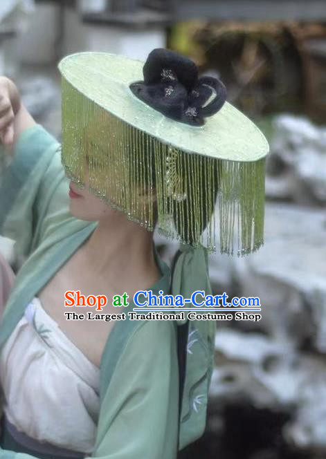 Chinese Classical Ancient Princess Green Beads Tassel Hat Ancient Song Dynasty Swordswoman Headwear