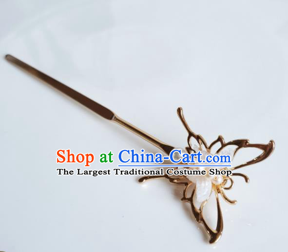 Chinese Ancient Royal Princess Hair Stick Hair Accessories Handmade Ming Dynasty Hanfu Shell Butterfly Hairpins