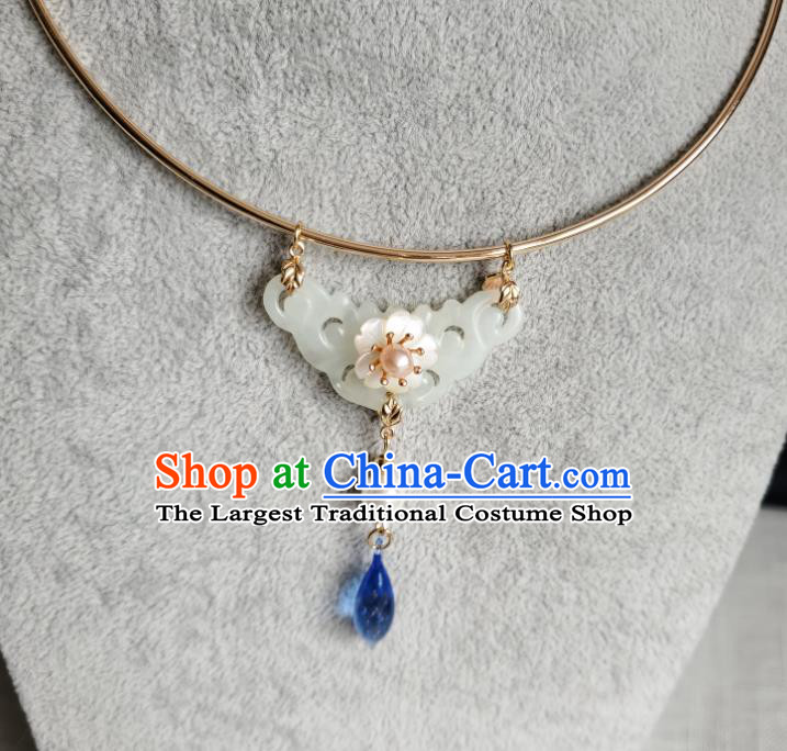 Chinese Handmade Ming Dynasty Blue Crystal Necklet Classical Jewelry Accessories Ancient Princess Hanfu Jade Necklace