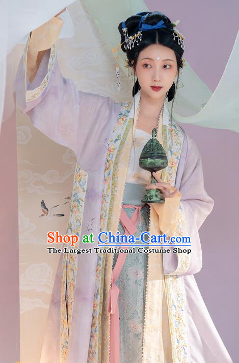 Chinese Ancient Noble Countess Hanfu Dresses Traditional Song Dynasty BeiZi Top Blouse and Skirt Historical Costumes Complete Set