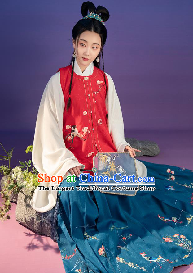 Chinese Ancient Noble Lady Embroidered Red Vest Blouse and Skirt Traditional Hanfu Dress Ming Dynasty Princess Historical Costumes