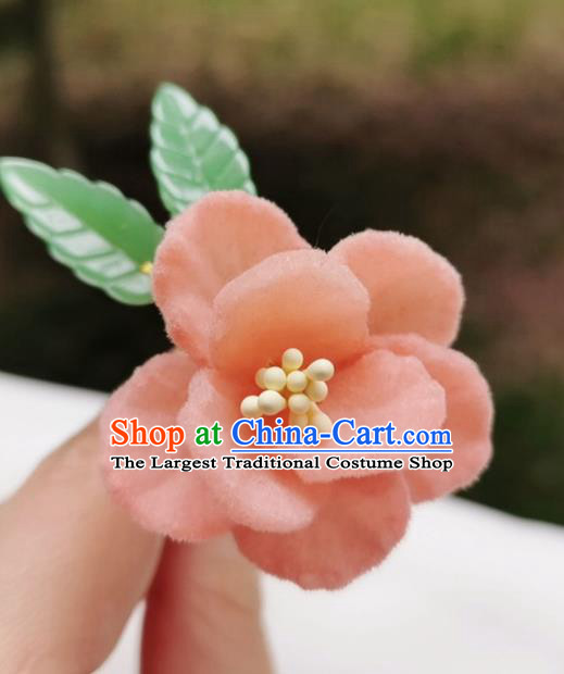 Chinese Qing Dynasty Pink Velvet Camellia Hair Stick Handmade Hair Accessories Hanfu Ancient Princess Flowers Hairpins