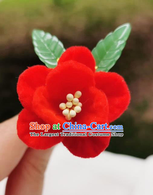 Chinese Qing Dynasty Red Velvet Camellia Hair Stick Handmade Hair Accessories Hanfu Ancient Princess Flowers Hairpins