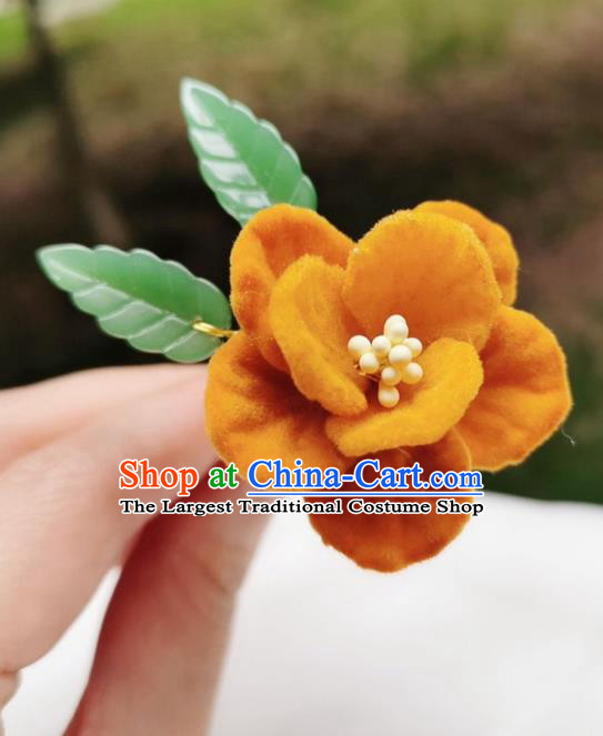 Chinese Qing Dynasty Ginger Velvet Camellia Hair Stick Handmade Hair Accessories Hanfu Ancient Princess Flowers Hairpins