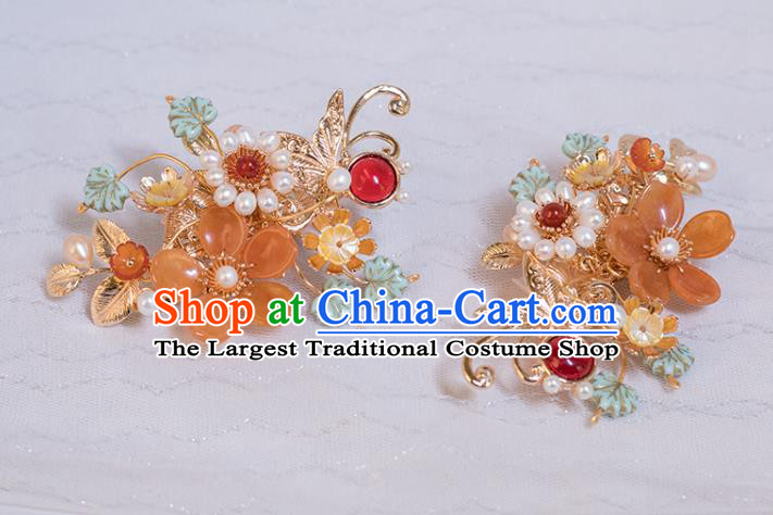 Chinese Classical Pearls Hair Sticks Handmade Hanfu Hair Accessories Ancient Ming Dynasty Princess Golden Butterfly Hairpins