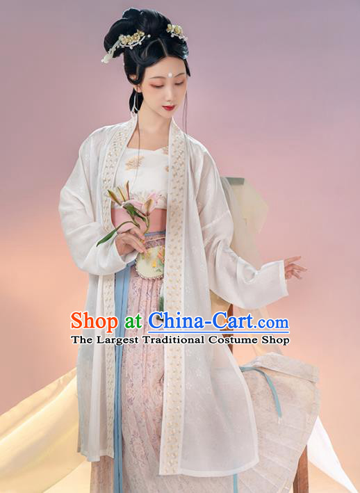 Chinese Ancient Song Dynasty Women Historical Costumes Embroidered Hanfu Dress Traditional White BeiZi Top and Skirt Full Set