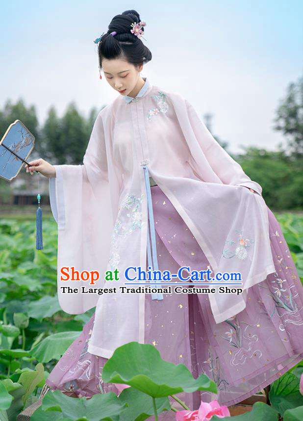 Chinese Ancient Ming Dynasty Royal Princess Historical Costumes Traditional Hanfu Dress Embroidered Long Gown and Skirt for Women