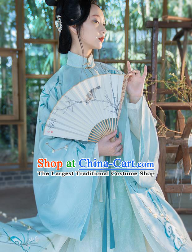 Chinese Ancient Princess Hanfu Dress Traditional Embroidered Blue Long Gown and Skirt Ming Dynasty Noble Lady Historical Costumes Complete Set