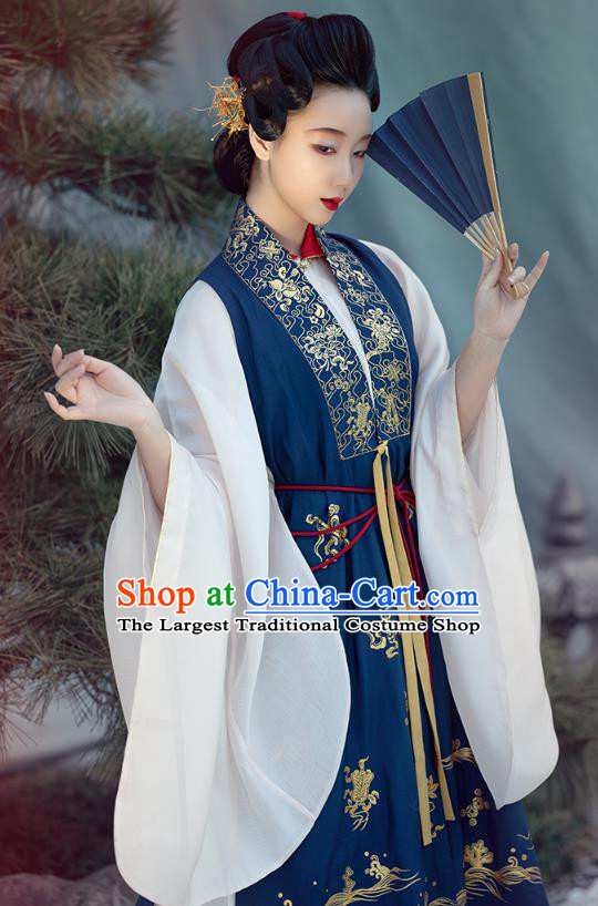 Chinese Ancient Countess Hanfu Apparels Traditional Ming Dynasty Noble Women Historical Costumes Embroidered Deep Blue Long Vest