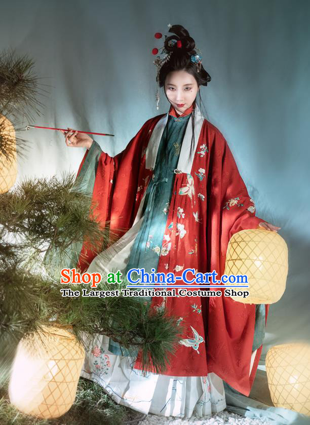 Chinese Ancient Court Women Hanfu Apparels Traditional Ming Dynasty Imperial Concubine Embroidered Red Cape Gown and Skirt Historical Costumes Full Set