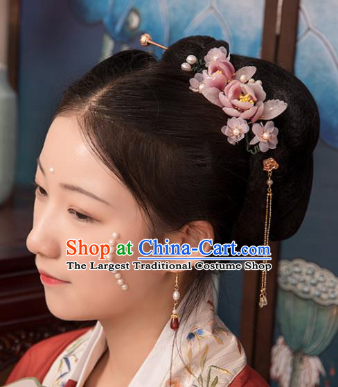 Chinese Classical Court Pink Flowers Hair Stick Handmade Hanfu Hair Accessories Ancient Song Dynasty Princess Hairpins