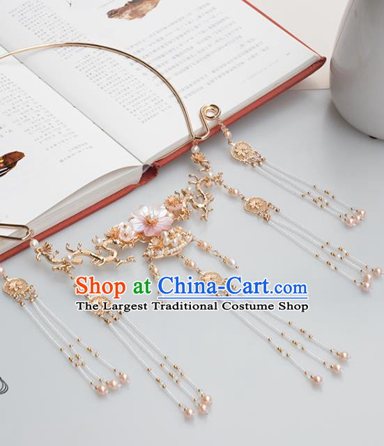 Chinese Handmade Pearls Tassel Necklet Classical Jewelry Accessories Ancient Ming Dynasty Princess Hanfu Necklace for Women