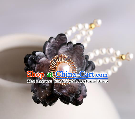 Chinese Classical Palace Black Plum Hair Sticks Handmade Hanfu Hair Accessories Ancient Song Dynasty Princess Hairpins