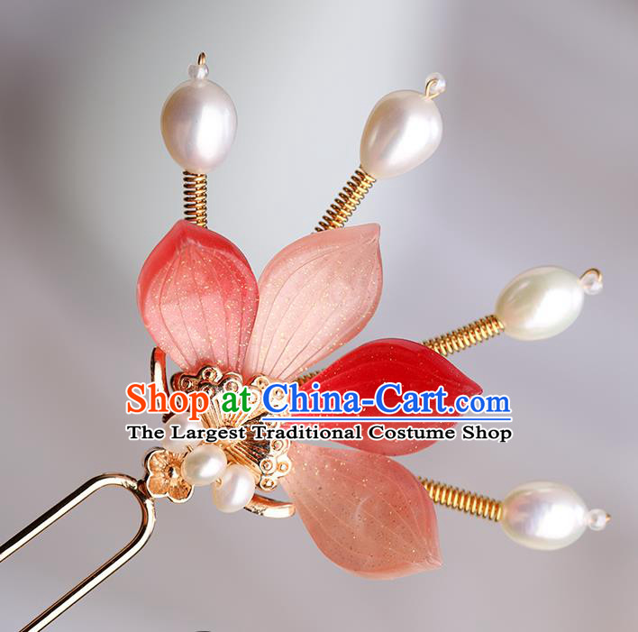 Chinese Classical Palace Red Flower Hair Sticks Handmade Hanfu Hair Accessories Ancient Song Dynasty Princess Hairpins