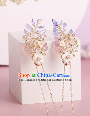 Chinese Classical Palace Hair Sticks Handmade Hanfu Hair Accessories Ancient Ming Dynasty Princess Wisteria Hairpins