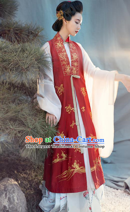 Chinese Ming Dynasty Noble Female Historical Costumes Traditional Ancient Royal Countess Red Vest Blouse and Skirt Hanfu Apparels for Women