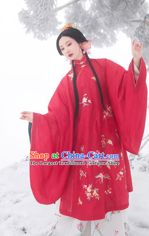 Chinese Ming Dynasty Historical Costumes Traditional Ancient Noble Lady Embroidered Red Gown and Skirt Hanfu Apparels Full Set