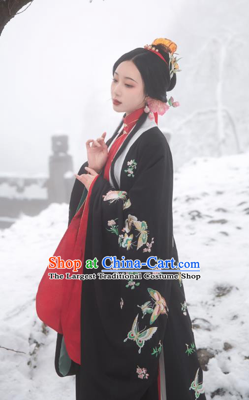 Chinese Ming Dynasty Countess Historical Costumes Traditional Hanfu Apparels Embroidered Black Cape Blouse and Skirt for Patrician Women
