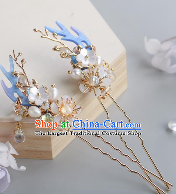 Chinese Classical Palace Pearls Plum Hair Stick Handmade Hanfu Hair Accessories Ancient Ming Dynasty Princess Hairpins