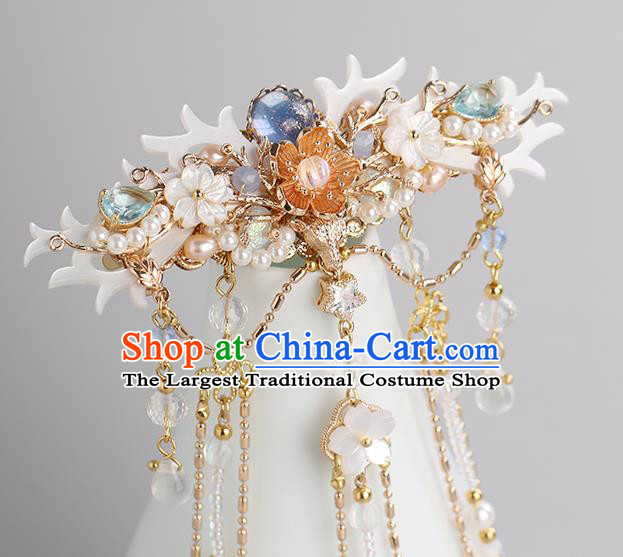 Chinese Classical Palace Golden Tassel Hair Crown Handmade Hanfu Hair Accessories Ancient Ming Dynasty Princess Hairpins