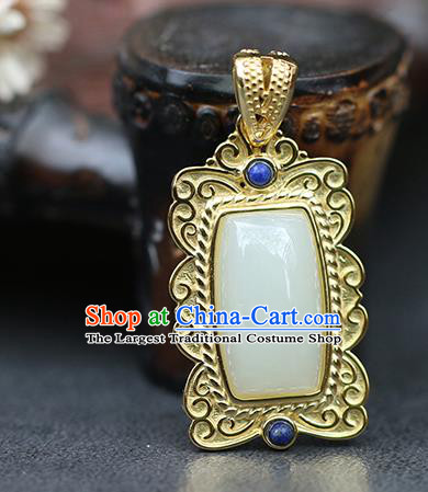 Chinese Handmade Jade Necklet Classical Jewelry Accessories Ancient Ming Dynasty Princess Hanfu Necklace Pendant for Women