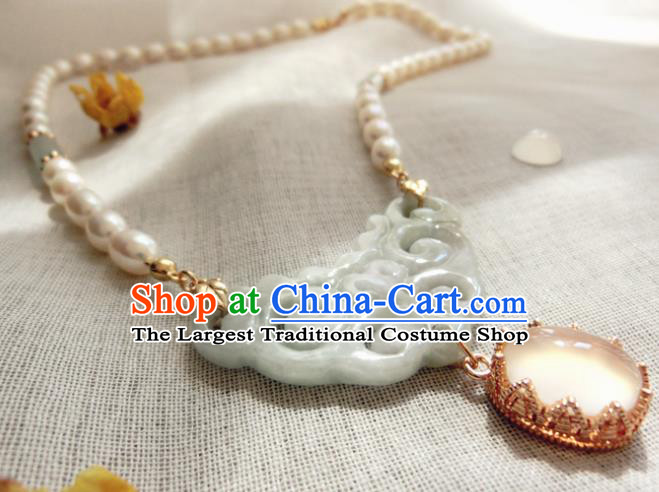 Chinese Handmade Hanfu Jade Necklet Classical Jewelry Accessories Ancient Ming Dynasty Princess Pearls Necklace for Women