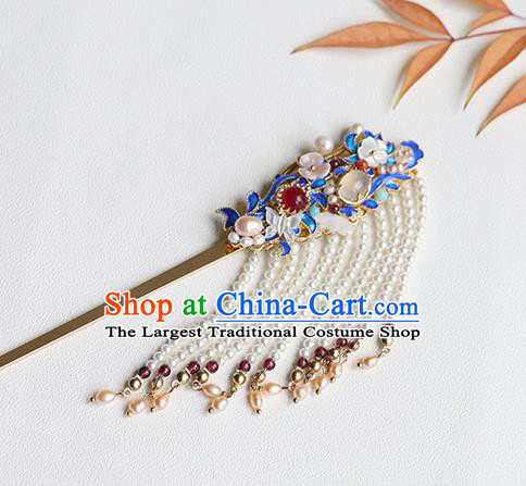 Chinese Classical Palace Tassel Hair Stick Handmade Hanfu Hair Accessories Ancient Qing Dynasty Princess Blueing Hairpins