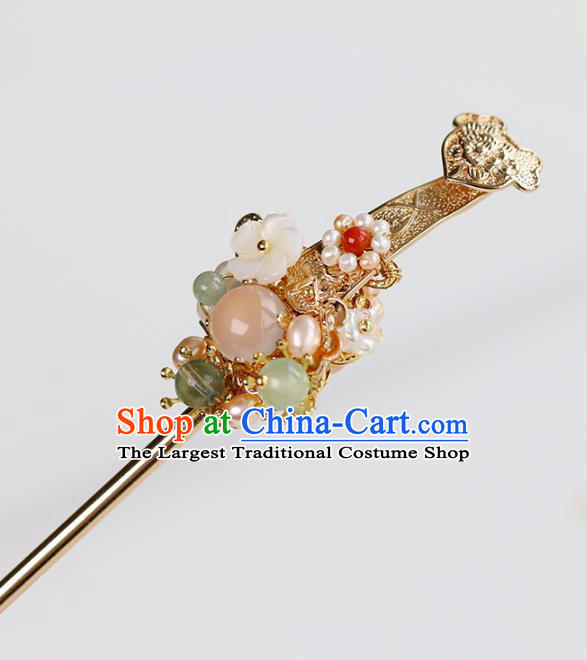 Chinese Classical Palace Golden Hair Stick Handmade Hanfu Hair Accessories Ancient Ming Dynasty Princess Chalcedony Hairpins
