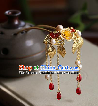 Chinese Classical Palace Tassel Hair Stick Handmade Hanfu Hair Accessories Ancient Ming Dynasty Princess Golden Hairpins