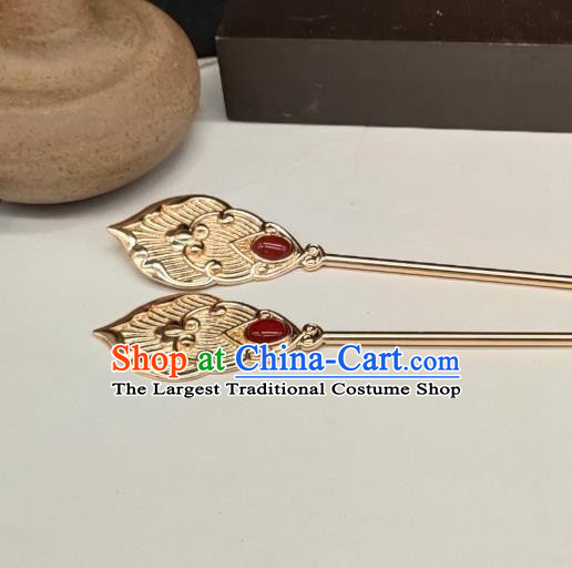 Chinese Classical Golden Hair Stick Handmade Hanfu Hair Accessories Ancient Tang Dynasty Princess Agate Hairpins