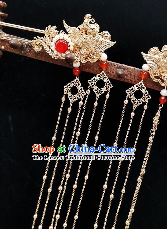 Chinese Classical Golden Tassel Hair Stick Handmade Hanfu Hair Accessories Ancient Tang Dynasty Princess Phoenix Hairpins