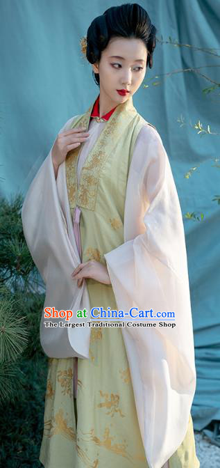 Chinese Ancient Court Women Historical Costumes Traditional Ming Dynasty Royal Countess Vest Blouse and Skirt Hanfu Apparels Complete Set