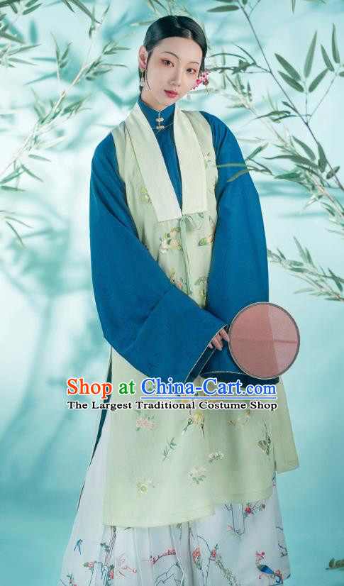 Chinese Ancient Patrician Young Mistress Historical Costumes Traditional Ming Dynasty Embroidered Butterfly Green Vest Blouse and Skirt Hanfu Apparels for Women
