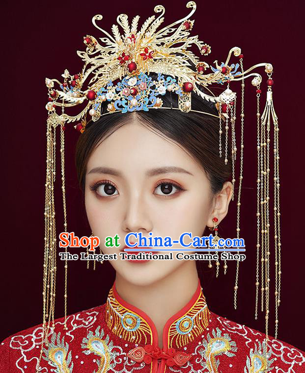 Chinese Classical Wedding Hair Crown Handmade Hair Accessories Ancient Bride Hairpins Golden Phoenix Coronet Complete Set